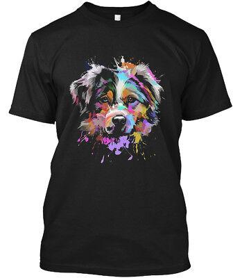 Splash Art Australian Shepherd Hanes Tagless Tee T Shirt