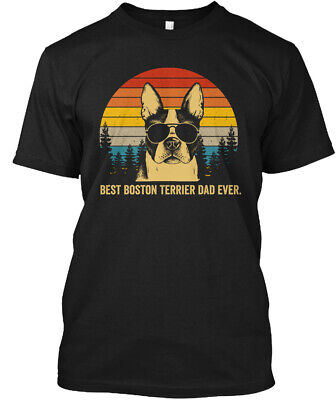 Best Boston Terrier Dad Ever Father Dog Hanes Tagless Tee