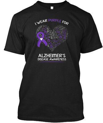 Soft I Wear Purple- Alzheimers Awareness - Purple For Hanes Tagless Tee T-Shirt (Alzheimers Awareness)