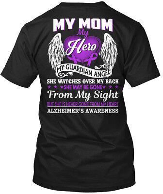 Alzheimers Awareness My Mom Hero - Guardian Angel She Hanes Tagless Tee T-Shirt (Alzheimers Awareness)