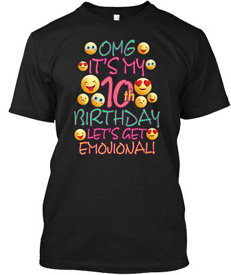 Emoji For Girls Birthday 10 Year Hanes Tagless Tee T-Shirt - Emoji For Girls