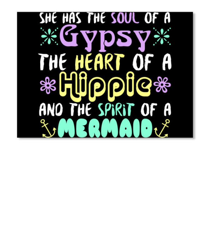 Soul Of A Gypsy She Has The Heart Hippie And Spirit Mermaid Sticker - Landscape