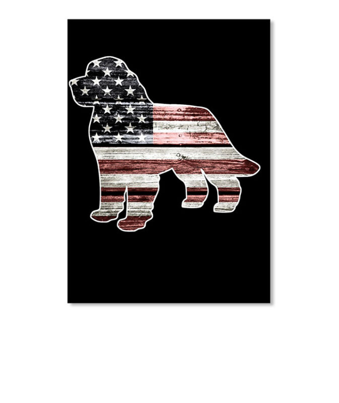 Patriotic Newfoundland Dog Sticker - Portrait