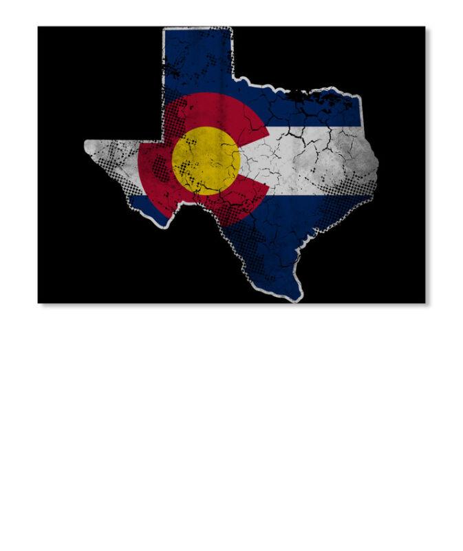 Easy-care Texas Colorado Flag Transplant Sticker - Landscape Sticker - Landscape