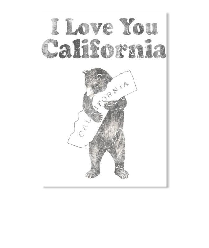 Vintage I Love You California Sticker - Portrait