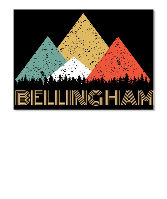 Retro City Of Bellingham Mountain Sticker - Landscape