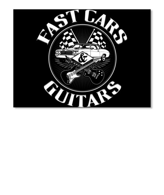 Fast Cars And Guitars Guitar Music Sticker - Landscape