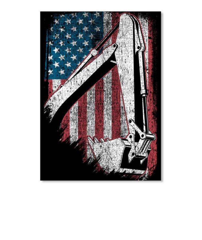 American Heavy Equipment Operator Flag Sticker - Portrait