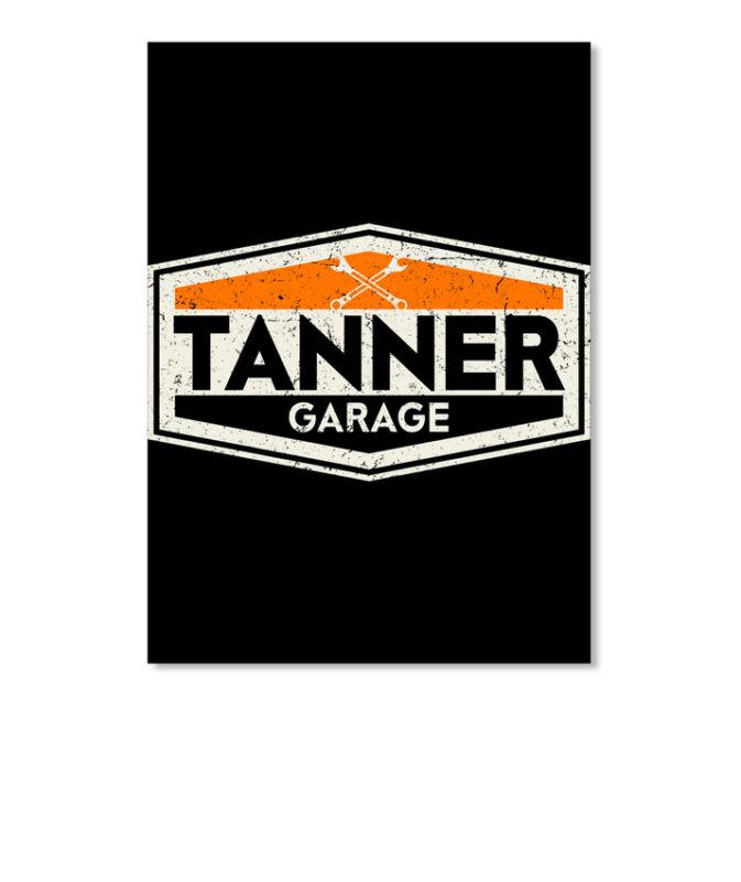 Vintage Tanner Garage Sign Sticker - Portrait