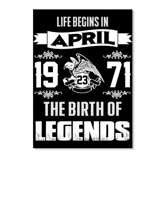 Legend Born In April 23rd, 1971 Sticker - Portrait - $6.30