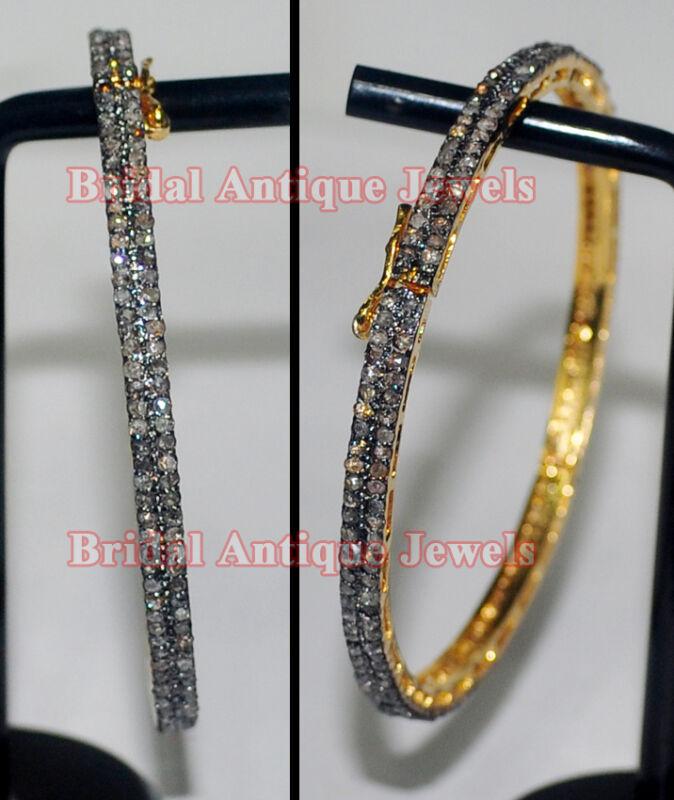 4.85ct Polki Rose Cut Diamond Antique Look 925 Silver Bracelet
