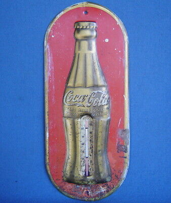 """ANTIQUE VINTAGE 1937 COCA-COLA BOTTLE 16"""" TIN THERMOMETER SIGN STORE ADVERTISING"""