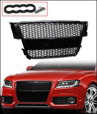 For 2008-2012 Audi A5/S5 B8/8T Black Rs Honeycomb Mesh Bumper Grille+Emblem Base