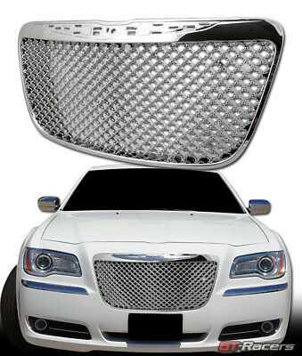 For 2011-2014 Chrysler 300 300C Chrome Luxury Mesh Front Bumper Grille Guard