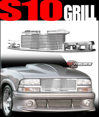 For 1998-2004 Chevy S10 Blazer/Truck Chrome Horizontal Billet Front Grill Grille