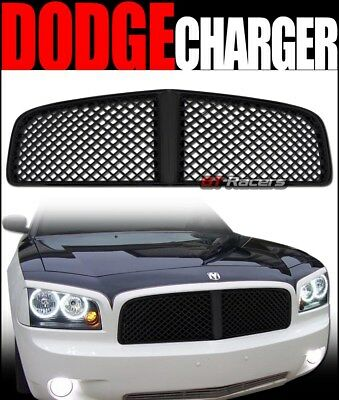 For 2006-2010 Dodge Charger Blk Luxury Badgeless Mesh Front Bumper Grill Grille ()