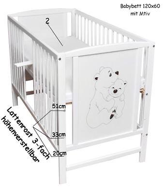Babybett Gitterbett Kinderbett 120x60 Weiß Bär Bärchen Motiv  mit Matratze NEU