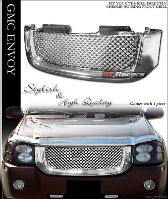 FOR 2002-2008 GMC ENVOY CHROME LUXURY MESH FRONT UPPER HOOD BUMPER GRILL GRILLE