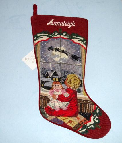 Sferra Girl At Window Needlepoint Christmas Stocking Monogrammed ANNALEIGH New