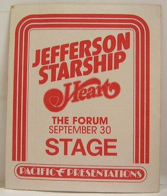 JEFFERSON STARSHIP / HEART (ANN & NANCY) - VINTAGE ORIGINAL 70's BACKSTAGE PASS