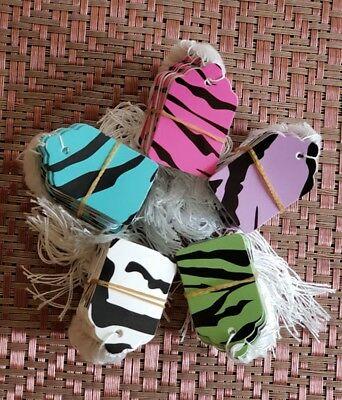 Zebra Designer Print Paper Merchandise Price Tags W Strings Strung 5 Colors 5