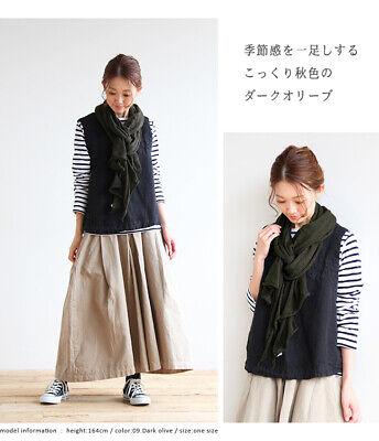New Prit Japan Made Dark Olive Pure Wool Gauze Scarf RRP$78+