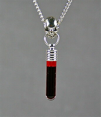 Gothic Goth Skull Vampire Blood Charm Pendant Necklace