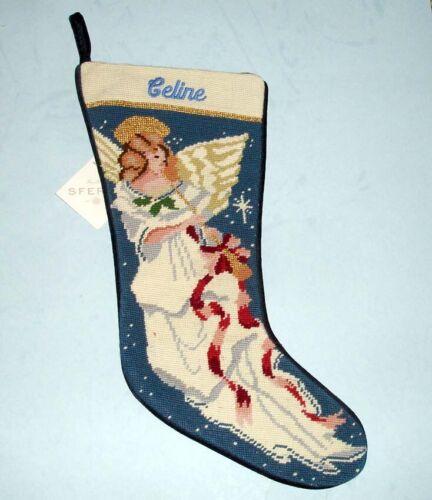 Sferra Angel With Horn Christmas Needlepoint Stocking Monogram CELINE New