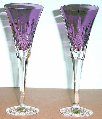 Waterford LISMORE Amethyst Toasting Champagne Flutes Set of 2 #154064 New In Box ()
