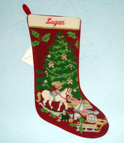 Sferra Christmas Toys Needlepoint Christmas Stocking Monogrammed LOGAN New