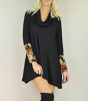 - Women's Black Trapeze Mini Tunic Dress Floral Sleeves Cowl Neck Shift Boho Knit
