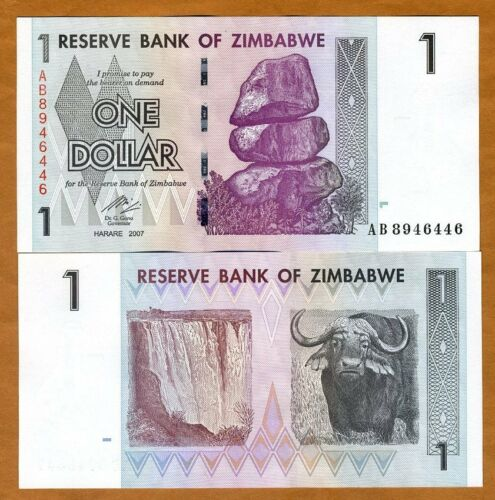 Zimbabwe, $1, 2007 (2009) P-65, UNC > Buffalo