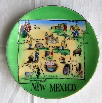 """NEW MEXICO MAP 6"""" HANDPAINTED SOUVENIR PLATE-MADE IN JAPAN"""