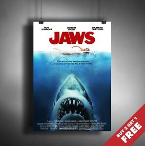 JAWS 1975 MOVIE POSTER A3 A4 * Classic Shark Movie Film ...