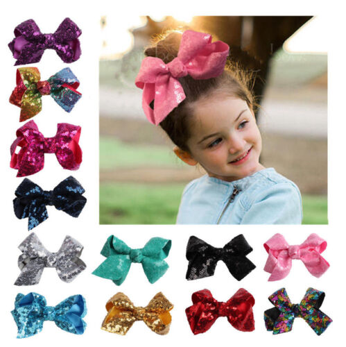 Wholesale Baby Kid Girl Large Hair Bows Sequin Alligator Cli