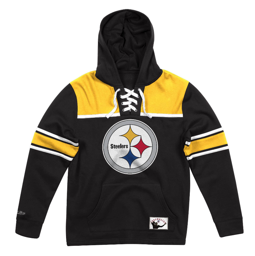 new arrival 91060 4b742 Details about NEW Black Pittsburgh Steelers Mitchell & Ness NFL Foolball  Fleece Hoodie