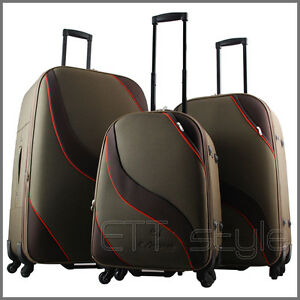 3 PIECE EXPANDABLE BROWN SPINNER ROLLING SUITCASE LUGGAGE SET CARRY ON