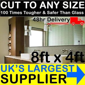 3mm Silver Acrylic Mirror 8ft x 4ft Perspex Mirror Bathroom Gym Garden Horse