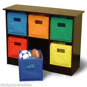 6-Bin-Storage-Cabinet-Storage-Unit-Toy-Box-6-Colored-Baskets-EXPRESSO-NEW