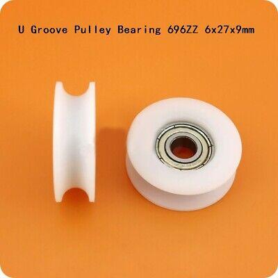 696zz 6x27x9mm U Groove Nylon Plastic Pulley Deep Groove Ball Bearing Wheel