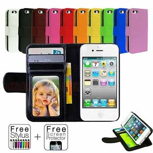 Leather-Flip-Wallet-Case-Cover-For-Apple-iPhone-4S-4