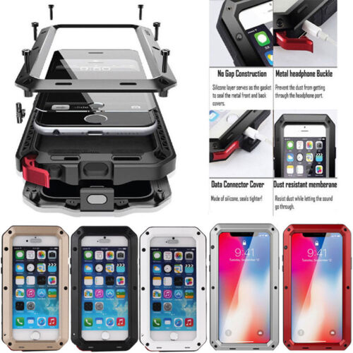 Aluminum Shockproof Heavy Duty Metal Glass Phone Case Cover For iPhone X 8 7 6 5