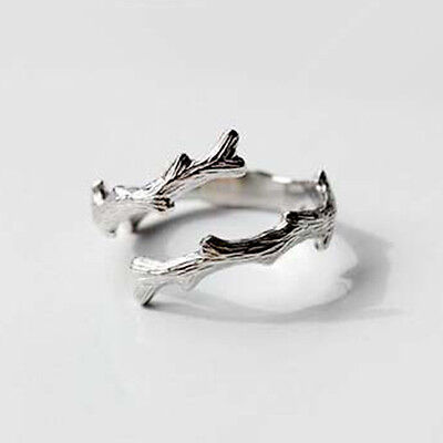 Tree Branch Engagement Ring (925 Silver tree branches Opening Ring For Women Fashion Engagement Ring)