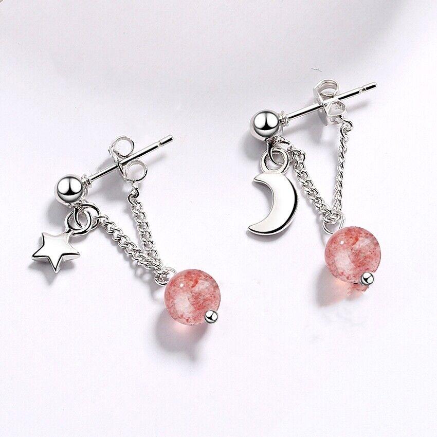 Jewellery - 925 Sterling Silver Strawberry Crystal Ball Star Stud Earrings Womens Jewellery