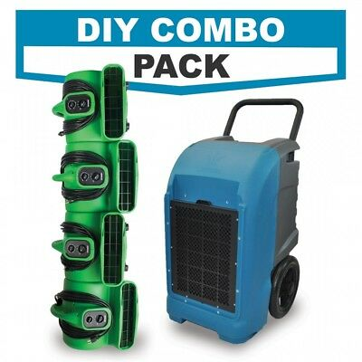 Commercial Grade Dehumidifier Powerful Air Mover Blowers- Diy Combo Pack