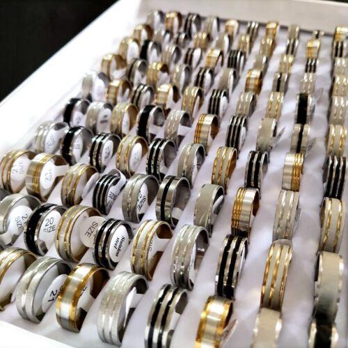 Bulk 100pcs Wholesale Mix lot of Gold Silver Black Enamel Stainless Steel Rings