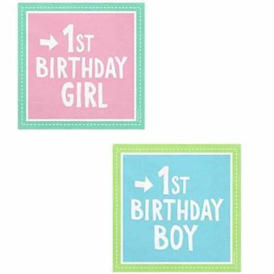 Servietten 1. Geburtstag Junge Mädchen Zahl 1 Kind blau rosa pink 1st Birthday ()