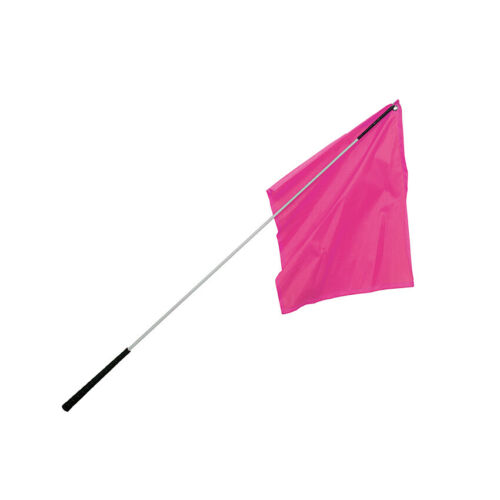 """Flag Training Stick / 48"""" Silver Shaft with Hot Pink Flag"""