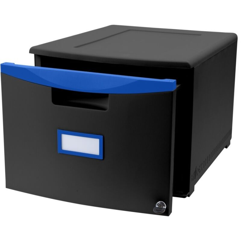 One Drawer Mini File Cabinet with Lock & Casters, Legal/Letter