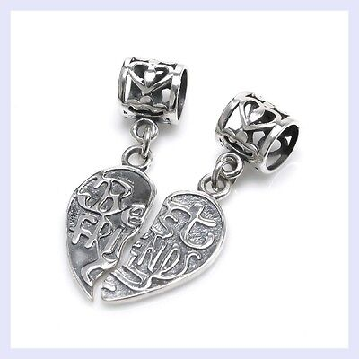2pc Set Sterling Sliver Best Friend Forever Apart/ Together European Bead (Best Friend Pandora Bead)